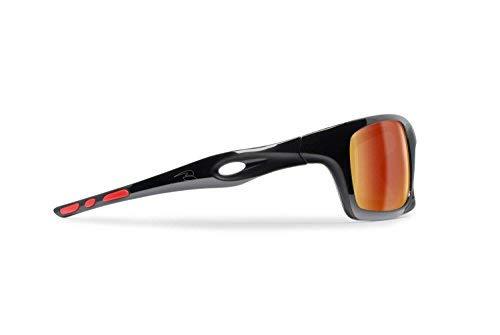 Lunettes Sportives Photochromiques Enveloppantes Coupe-vent de Velo Vtt Moto Ski Running Pêche – mod. Omega by Bertoni Italy (Noir Brillant / Rouge - Or Miroir)