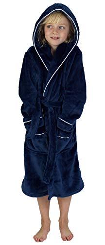 CityComfort Peignoir Garçon Robe de Chambre Polaire Enfant Peignoire Extra Doux (9-10 Ans, Marine)