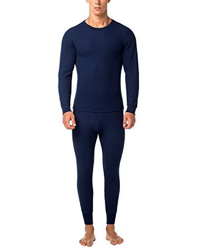 LAPASA Ensemble de sous-vêtements Thermiques Homme Tissu Gaufré Waffle - Ultra Chaud ET LÉGER - Haut Maillot de Corps & Pantalon Bas Hiver Ski Montagne M60 - Bleu Marine - S