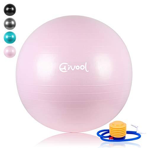 Hivool Ballon Suisse de Gym(55cm/65cm/75cm/85cm) Ballon d'entraînement Anti-dérapant Anti-déflagrant,Balle de Yoga Pompe, Poids de roulement 500 kg/Plusieurs Options de Couleurs. ...