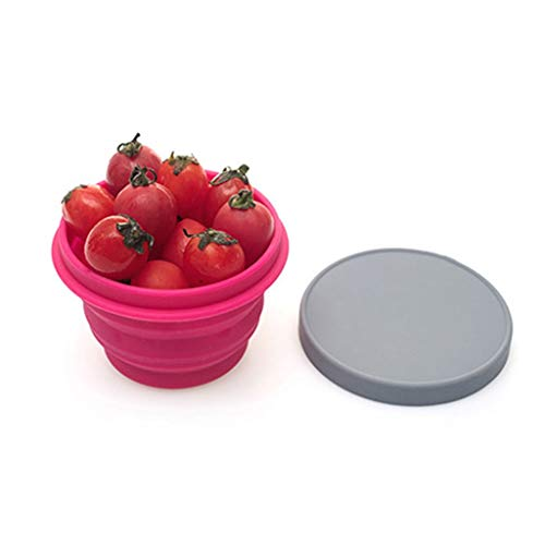 Tasse ZYLIANG Folding Cup, Le Silicone Se Pliant, Le Bol de Compression télescopique de Voyage, Peuvent être utilisés pour Boire Le Plat de Fruit de café (Color : Pink, Size : 8x8.5x12cm)
