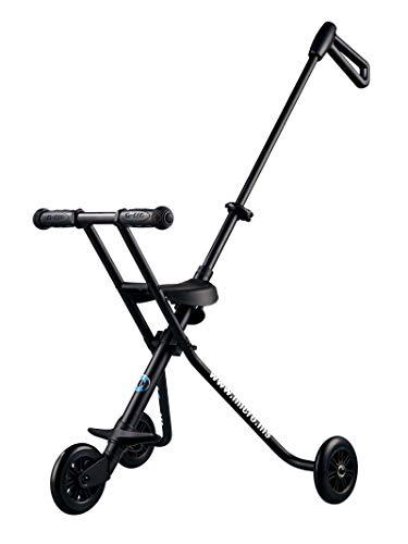 Micro Mobility - Micro Trike Noire - Porteur Bébé - Porteur Enfant - Compact et pratique - Emmenez votre enfant partout, en toute sécurité - Design suisse