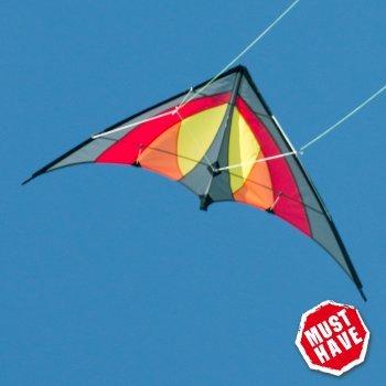 CIM Cerf-volant acrobatique - SHURIKEN Red Desert MUSTHAVE - pour enfants à partir de 8 ans - 120 x 60 cm – inclus lignes sur bobines