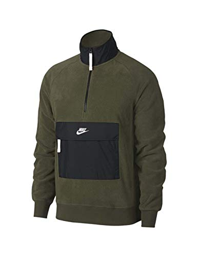 Nike M NSW Top Hz Core Wntr SNL Sweat-Shirt Homme, Olive Canvas/Nero/Bianco, L