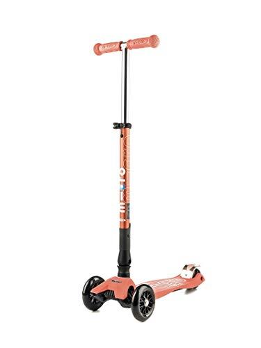 Micro Mobility-Trottinette Maxi Micro Pliable-Trottinette junior 3 roues légère et robuste - Navigation par transfert de poids - Hauteur de guidon réglable - Couleur Rose Corail - À partir de 5 ans