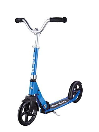 Micro Mobility - Trottinette Micro Cruiser Bleu - Enfant - Grandes roues - Guidon large et réglable, style chopper tournant à 360° - 100% aluminium - Robuste, compacte et pliable - Dès 7 ans