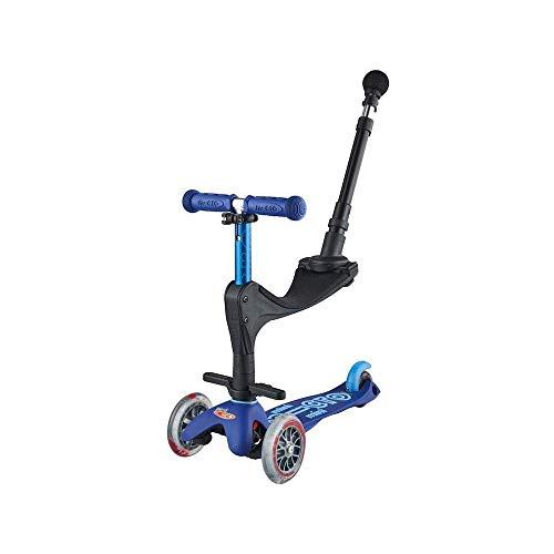 Micro-Mobility - Trottinette Mini 3-en-1 Deluxe - Trottinette Enfant Évolutive 3 Roues - Barre de poussée - Repose Pied - Siège en Mousse - Navigation par Transfert de Poids (Bleu)