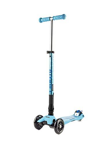 Micro Mobility - Trottinette Maxi Micro Pliable - Trottinette junior 3 roues légère et robuste - Navigation par transfert de poids - Hauteur de guidon réglable - Couleur Aqua Bleue Turquoise - À partir de 5 ans