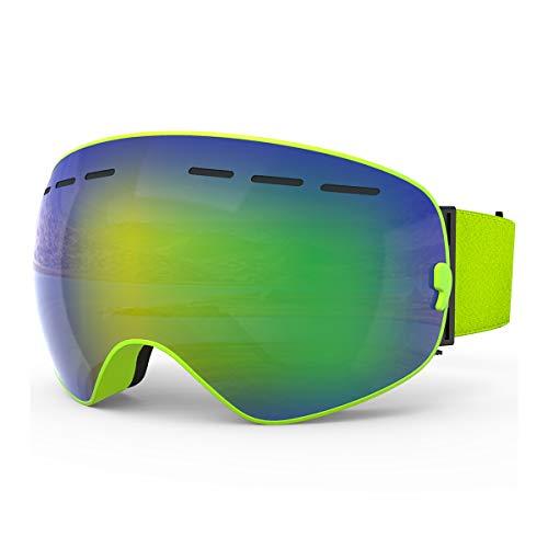 X-TIGER Lunettes de Ski,OTG Lunette de Ski,Masque de Snowboard, Anti-buée et Protection UV 400 Masque de Ski Lunettes d'anti-buée et Coupe-Vent pour Homme/Femmes/Jeunes Sport d'hiver Ski Masques
