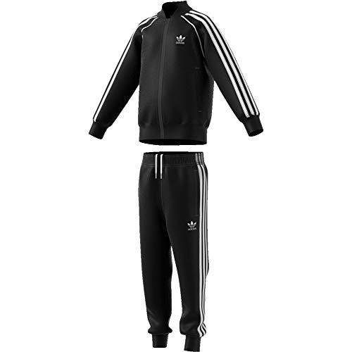 adidas Superstar Suit Survêtement Mixte Enfant, Top:Black/White Bottom:Black/White, FR : XS (Taille Fabricant : 5-6Y)