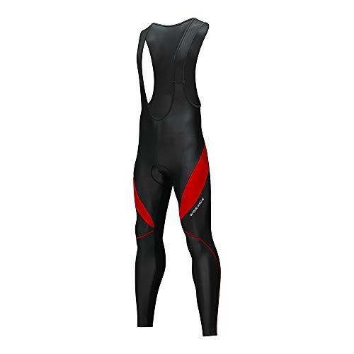 Lixada Maillot de Cyclisme, Thermique, Respirantes, Vélo de Montagne Pantalon Collant - Cyclisme Bib Pantalon - 3D Coussin de Gel Rembourré, pour Printemps/Automne/Hiver (Rouge+Noir, XXL)