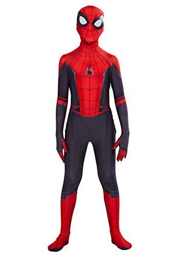 helymore Halloween Combinaison de Film Cosplay Superhero Jumpsuit Serree Impression Araignee avec Masque, Hauteur Appropriee 100cm-110cm