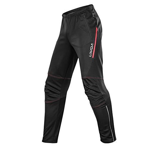 Lixada Pantalon de Cyclisme imperméable pour Homme en Molleton Thermique Coupe-Vent Hiver vélo équitation Running Pantalon de Sport