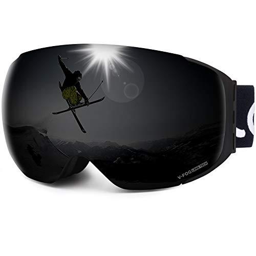 LEMEGO Lunettes de Ski Homme Femme, Masque de Ski Snowboard Magnétique Protection UV400 Anti-Buée Double Ecran Sphérique Sangle Détachable Ajustable Compatible Casque pour Adulte - VLT 5,60%