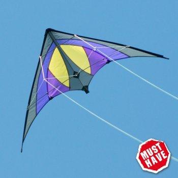 CIM Cerf-volant acrobatique - SHURIKEN Purple Rain MUSTHAVE - pour enfants à partir de 8 ans - 120 x 60 cm - inclus lignes sur bobines