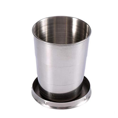 Haofy Taille 240ML / 140ML / 75ML3 facultative Toute la Tasse Se Pliante de Tasse télescopique d'acier Inoxydable, Tasse Se Pliante de Verre à vin de Porte-clés(M)