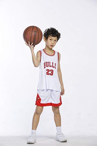 BeKing Maillots Ensemble de Basket-Ball Enfants - NBA Bulls Jordan#23 / Lakers James#23 / Warriors Curry#30 T-Shirt de Basket-Ball Gilet Top Short d'été pour Garçons et Filles