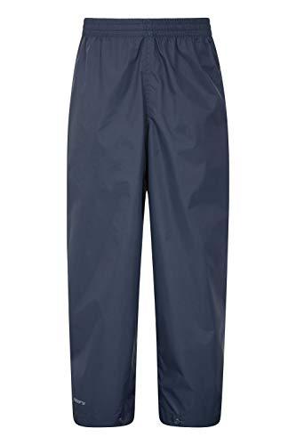 Mountain Warehouse Surpantalon de Pluie Pakka pour Enfant - Pliable, avec Coutures étanches et Ajustement à la Cheville - pour Aller à l'école sous la Pluie Bleu Marine 11-12 Ans