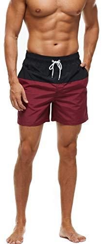 Arcweg Homme Short de Bain Bermuda Séchage Rapide Garçons Court de Plage Sport Natation Casual avec Cordon Réglable Élastique Noir/Vin Rouge 38 Taille étiquette M