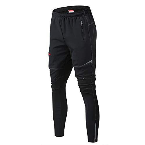JOGVELO Pantalon Cycliste Homme, Pantalons Cycliste Homme Coupe-Vent Imperméable Thermique pour Hiver, L