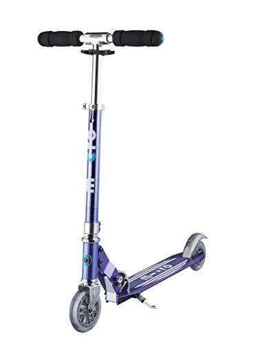 Micro Mobility - Trottinette Sprite Bleu Saphir Gris Rayé - Trottinette Enfant compacte et Pliable - Apprentissage de l'équilibre - À partir de 6 Ans