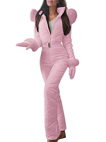 Minetom Combinaison de Ski Femme Fille Hiver Chaud Peluche Capuche Overall Neige Extérieur Sports Pantalon Ski Suit Imperméable Jumpsuit Rose 34