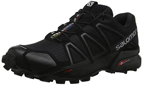 Salomon Homme Chaussures de Trail Running, SPEEDCROSS 4, Couleur: Noir (Black/Black/Black Metallic), Pointure: EU 46