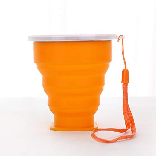 ZUZEN Tasse Pliante Portable Tasse à café créative multifonctionnelle avec Couvercle Matériau en Silicone Convient pour Un Four, Un Four Micro-Ondes et Un réfrigérateur,Orange