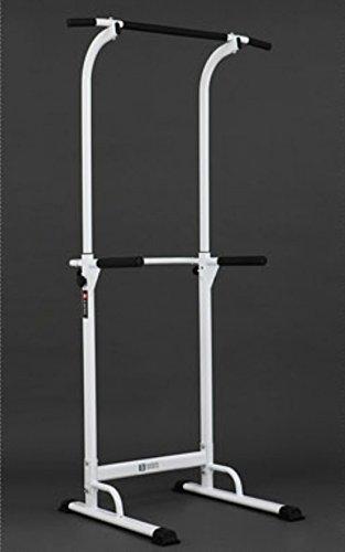 PullUp Fitness Barre de Traction Ajustable Station Musculation Dips Station Chaise Romaine (Blanc)