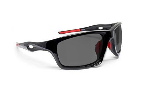 Lunettes Sportives Photochromiques Enveloppantes Coupe-vent de Velo Vtt Moto Ski Running Pêche – mod. Omega by Bertoni Italy (Noir Brillant / Rouge - Photochromiques Polarisée)