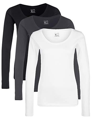 Berydale Für & Freizeit, Rundhalsausschnitt T- T-Shirt À Manches Longues, Multicolore Schwarz/Weiß/Forged Iron), Small, Lot de 3