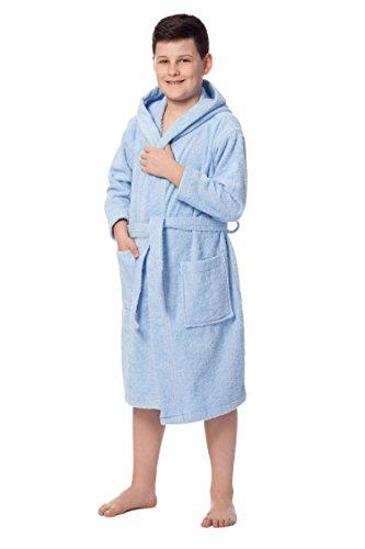 ZOLLNER Peignoir Enfant en Coton, 140/152 8-11 Ans, Bleu (Autres Disponibles)