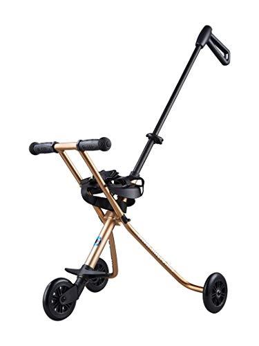 Micro Mobility Trike Gold - Porteur Compact à emporter Partout - Ultra léger, Moins de 2 kg ! - Alternative à la Poussette - Barre de poussée Ajustable - 100% Aluminium - À partir de 18 Mois