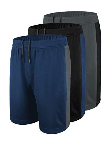 DISHANG Short de Basket-Ball pour Homme avec Poches latérales en Maille M Noir 1 + Gris foncé + Bleu Marine 2.