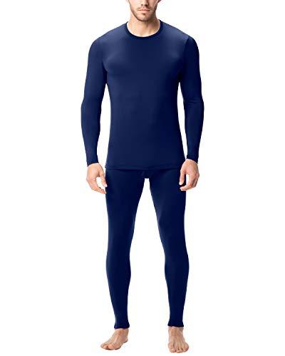 LAPASA Ensemble de sous-vêtements Thermiques Homme (Haut Maillot de Corps et Pantalon Bas) Léger et Chaud - Hiver Sport Montagne M11&M57 - M11: Bleu Marine (Léger) - XXL