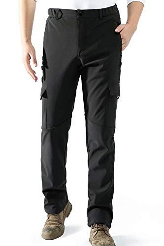 AOLI RAY Homme Doublé Polaire Imperméable Pantalon Softshell Coupe-Vent Outdoor Camping Randonnée Trekking Ski Pantalon Noir XXL