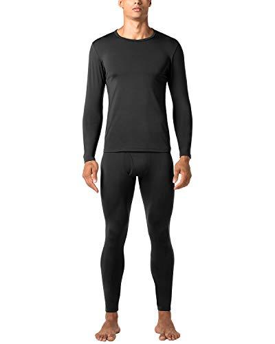 LAPASA Ensemble de sous-vêtements Thermiques Homme (Haut Maillot de Corps et Pantalon Bas) Léger et Chaud - Hiver Sport Montagne M11&M57 - M57: Noir (Épais Intermédiaire) - L