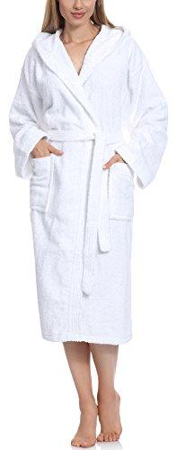 Ladeheid Peignoir de Bain Éponge 100% Coton Femme LA40-102 (Blanc (P01) (Grammage 450), S)