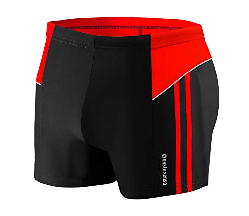 Sesto Senso Maillot de Bain Homme Boxer Trunks Shorts Pantalon (Tailles de M à 4XL) Slips Natation de Sport BD 384 (4XL, Noir)