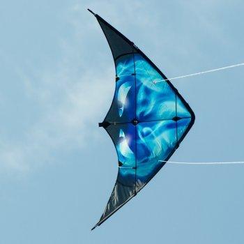 CIM Cerf-Volant acrobatique - Kunai Smokedevil - pour Enfants à partir de 8 Ans - 120x60cm - Inclus Lignes