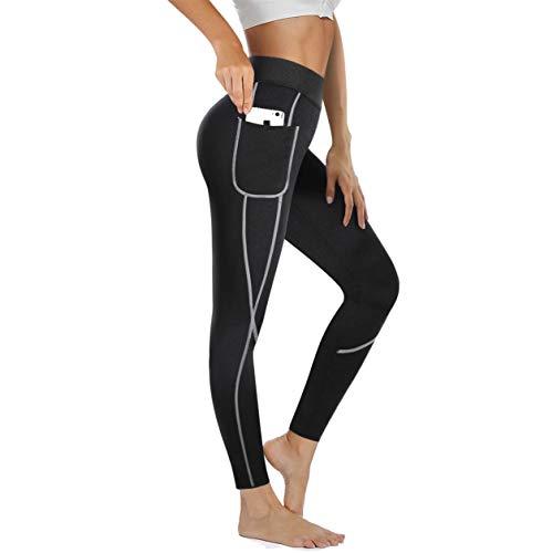 Chumian Pantalon de Sudation Femme Legging Minceur Néoprène Transpiration Sauna Pants pour Perte de Poids Fitness Sport Gym (Noir, XL)