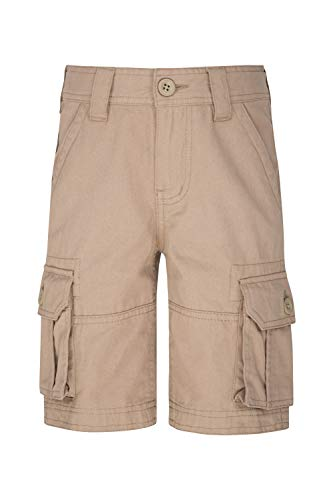 Mountain Warehouse Short Cargo pour Enfants - 100% Coton, Ceinture réglable, Short Doux, Poche, Entretien Facile - Camping, Voyage Beige 3-4 Ans