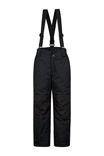 Mountain Warehouse Pantalon de Ski Raptor pour Enfants - Deux Poches, imperméable à la Neige, Bretelles Amovibles et Ouverture Cheville zippée - pour garçons et Filles Noir 3-4 Ans