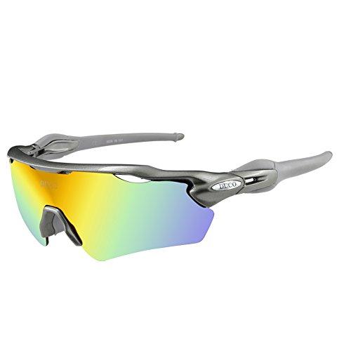 Duco Lunettes de Soleil polarisées Lunettes pour Sport, Cyclisme avec 5 Verres interchangeables 0028 (Cadre Gunmetal)