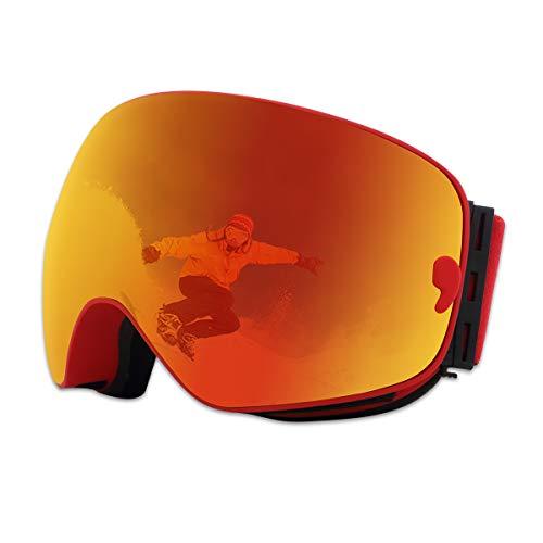 X-TIGER Lunettes de Ski,Snowboard OTG pour Homme pour Femmes Youth Adulte Anti-buée Jet Ski Lunettes Ski Goggles Lens Masques Lunettes de Ski Anti-UV 400 Protection Lunettes de Protection(XJ-0104)