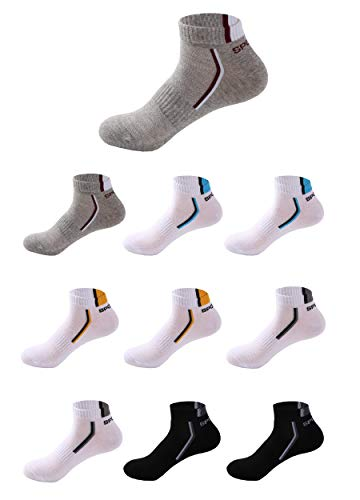 Budermmy Lot de 5 ou 10 paires Homme Chaussettes de sport Femme chaussettes courtes basses respirantes (Y- Mélange de couleurs 10 paires, 41-46)