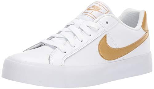 Nike WMNS Court Royale AC, Chaussures de Tennis Femme, Blanc (White/MTLC Gold 109), 40.5 EU