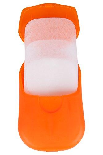 Mountain Warehouse Feuilles de Savon Sec - Approx. 13.5g, 50 Feuilles, Savon Hypo-allergénique, adaptées aux Mains, Corps et vêtements - Idéales pour Longs trajets Orange Taille Unique
