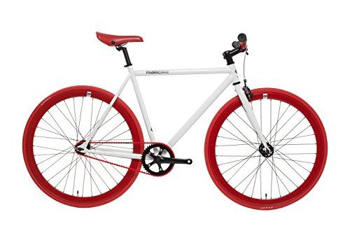 FabricBike Vélo Fixie, Fixed Fear, Single Speed, Cadre Hi-Ten Acier, 10Kg (White & Red, M-53)