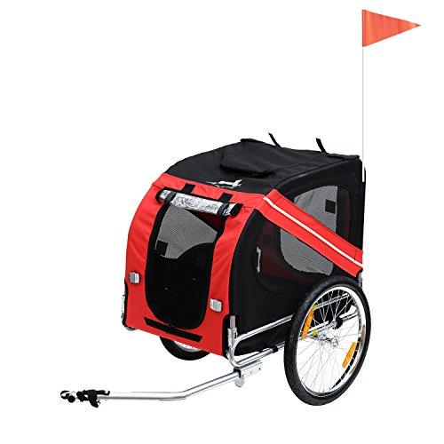Pawhut Remorque vélo pour Chien Animaux Pliable 8 réflecteurs Drapeau Barre attelage Inclus Acier Polyester imperméable Max. 40 Kg 140 x 90 x 106 cm